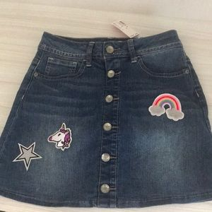 Justice girls denim skirt unicorn rainbow size 10